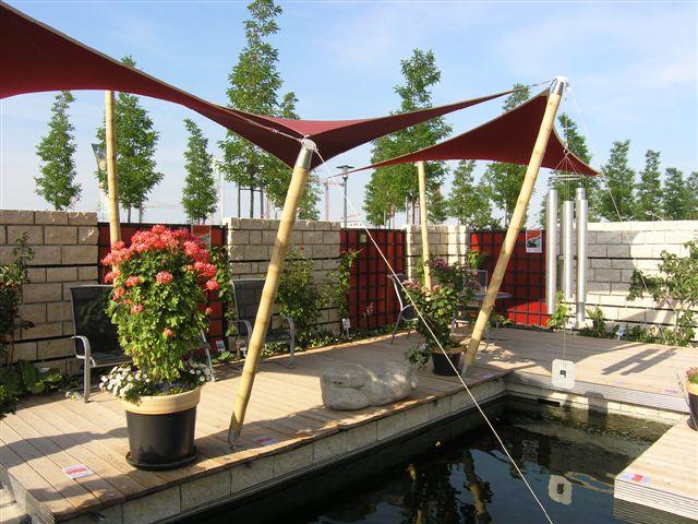 sonnensegel mit conbam bambus st tzen bambusexperte. Black Bedroom Furniture Sets. Home Design Ideas
